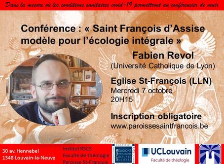 """""""St François : modèle pour l'écologie intégrale"""" - Ce Mercredi 7 octobre en vidéoconférence"""
