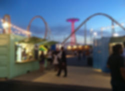 Food kiosks at Coney Island Art Walls, designed by Lenart Architecture.