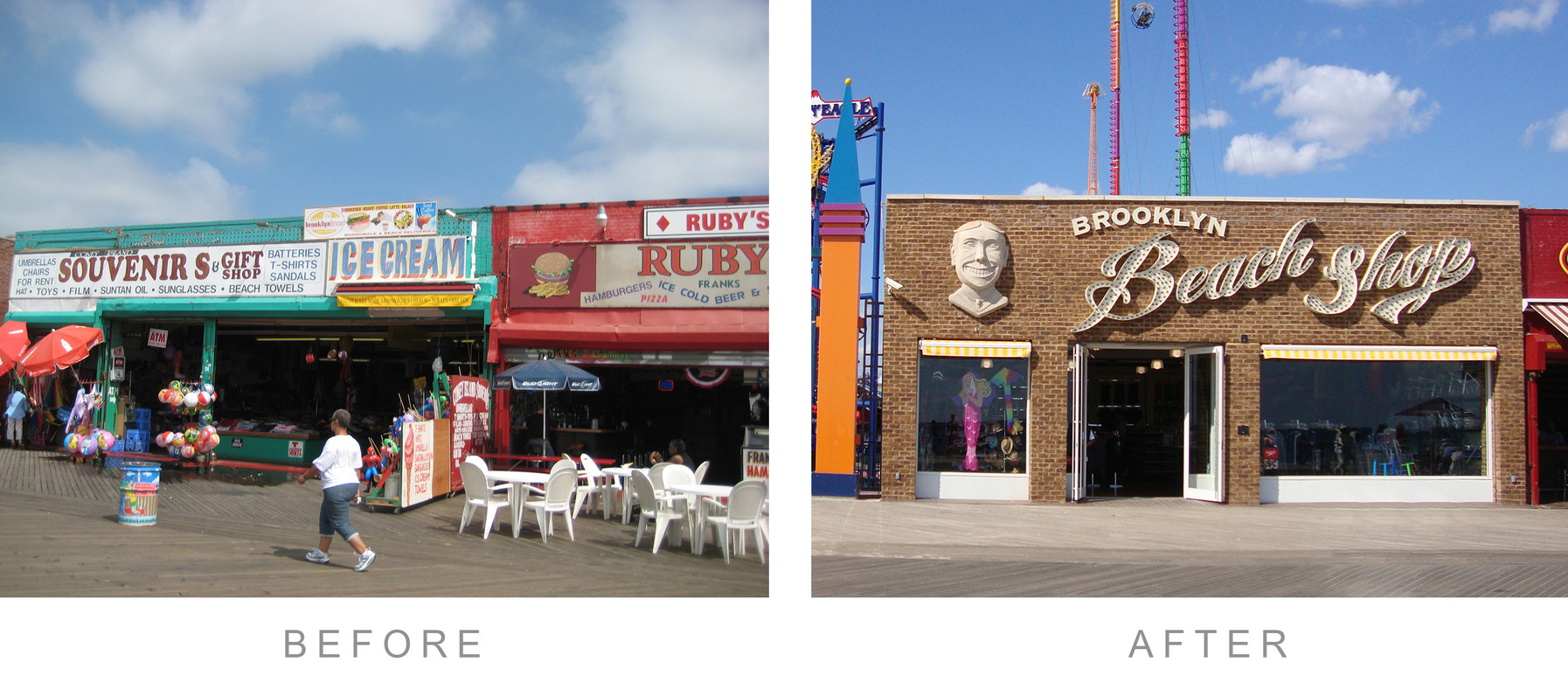 before after - coney island - beach shop