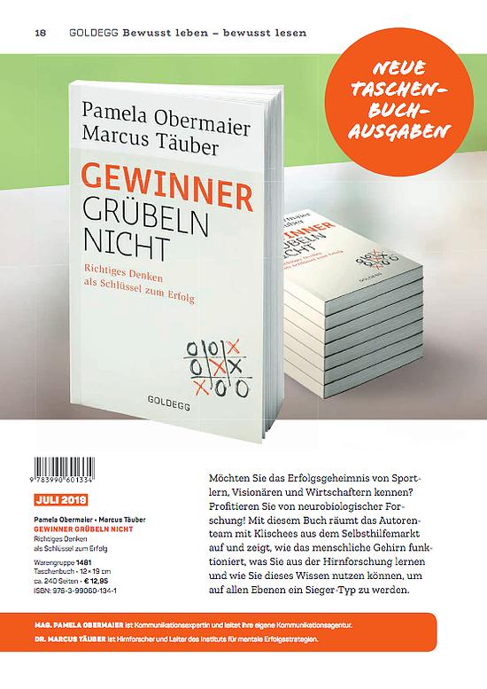 """Der Bestseller """"Gewinner grübeln nicht"""" – im Buchhandel inzwischen auch als Longseller etabliert – erscheint im Juli 2019 in einer Taschenbuchausgabe."""