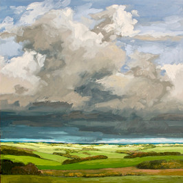 Contemporary english landscape in east anglia with sunny fields and stormy sky by Halima Washington-Dixon