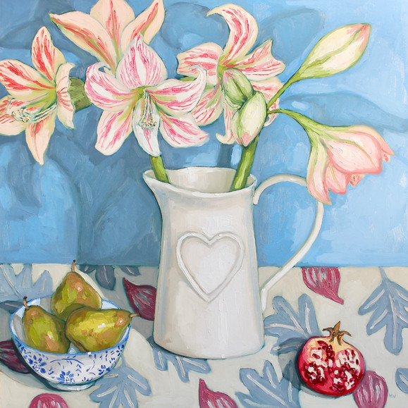 Contemporary still life winter amaryllis bouquet with pears and pomegranate by Halima Washington-Dixon
