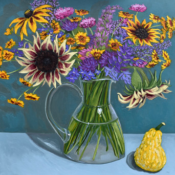 Contemporary still life sunflower and gold bouquet with summer squash by Halima Washington-Dixon