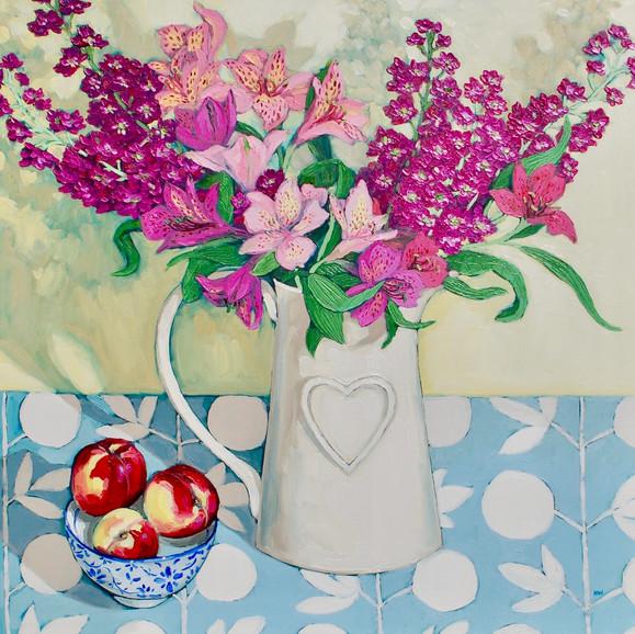 Contemporary still life magenta and peach  bouquet with nectarines by Halima Washington-Dixon