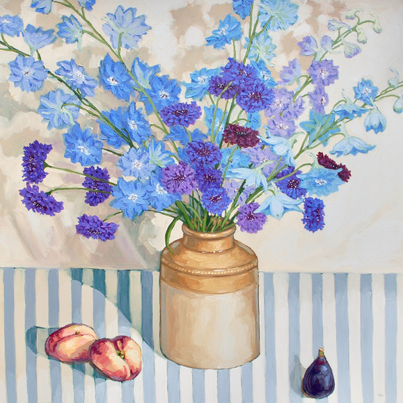 Contemporary still life delphinium and cornflower bouquet with flat peaches and figs by Halima Washington-Dixon