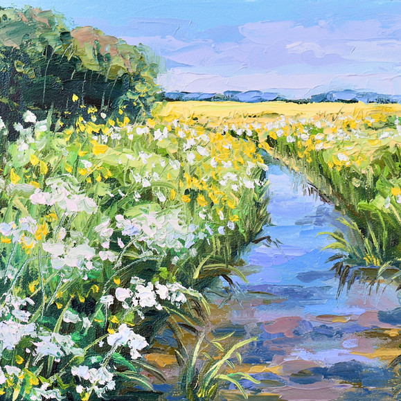 Contemporary english riverside with sunny spring yellow fields and wild flowers by Halima Washington-Dixon