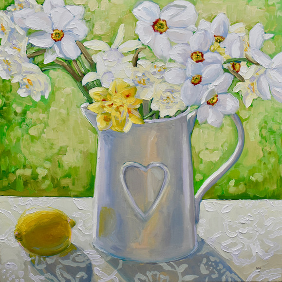 Contemporary narcissus still life with daffodils and lemon  by Halima Washington-Dixon