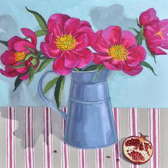 Contemporary still life magenta peony bouquet with pomegranate by Halima Washington-Dixon