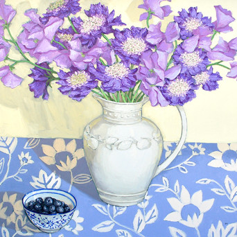 Contemporary still life purple bouquet with blueberries by Halima Washington-Dixon