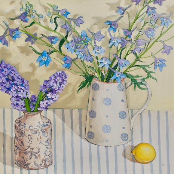 Contemporary still life delphinium and purple bouquet with lemons by Halima Washington-Dixon