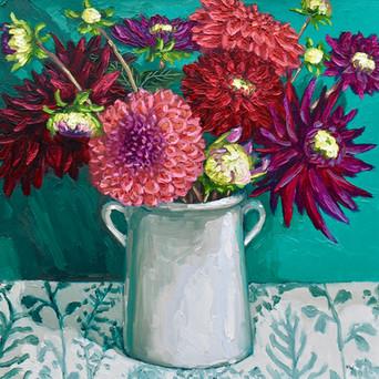Contemporary still life magenta and crimson dahlia bouquet by Halima Washington-Dixon