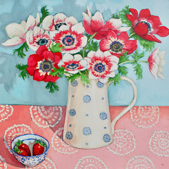 Contemporary still life anemones red and white  bouquet with strawberries by Halima Washington-Dixon