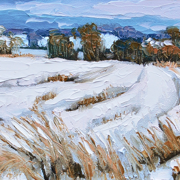 Contemporary english landscape in east anglia with snowy fields by Halima Washington-Dixon
