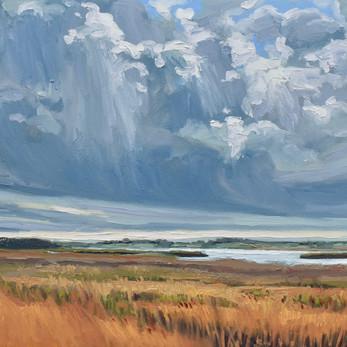 Contemporary english landscape with rain clouds Snape malting reedbeds  by Halima Washington-Dixon
