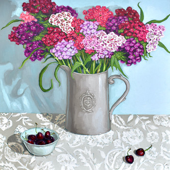 Contemporary still life sweet williams bouquet with cherries by Halima Washington-Dixon
