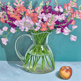 Contemporary still life snapdragon and sweet pea bouquet with summer peach by Halima Washington-Dixon