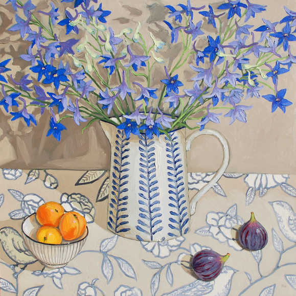 Contemporary still life delphinium bouquet with apricots and figs by Halima Washington-Dixon