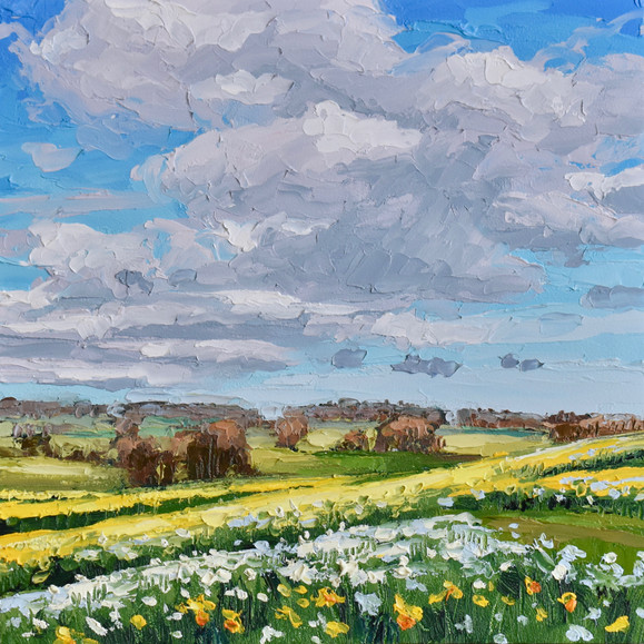 Contemporary english landscape in Northumberland with sunny spring daffodil fields by Halima Washington-Dixon