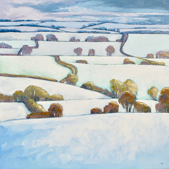 Contemporary english landscape in winter with snowy fields by Halima Washington-Dixon