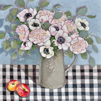 Contemporary still life anemone peony Summer bouquet with flat peaches by Halima Washington-Dixon