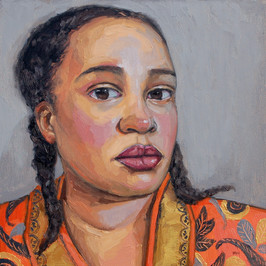 Contemporary naive figure and portrait impasto paintings by Suffolk artist Halima Washington-Dixon