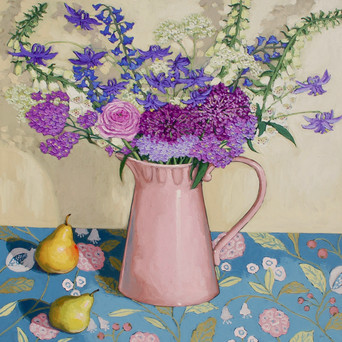 Contemporary still life foxglove and purple bouquet with fl and pears by Halima Washington-Dixon