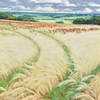 Contemporary english landscape with summer rain wheat and poppy fields  by Halima Washington-Dixon
