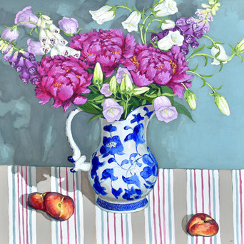 Contemporary still life magenta peony and foxglove bouquet with peaches by Halima Washington-Dixon