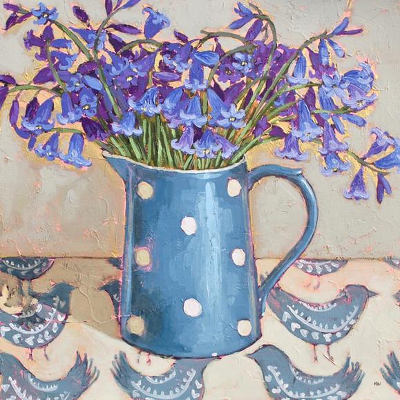 Contemporary still life blubells  purple bouquet by Halima Washington-Dixon