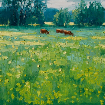 Contemporary english landscape with sunny yellow buttercup fields  by Halima Washington-Dixon