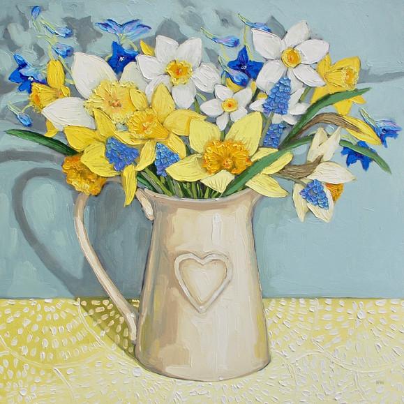 Contemporary still life Spring daffodil  bouquet with muscari by Halima Washington-Dixon