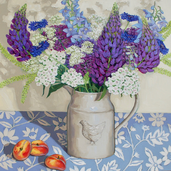 Contemporary still life delphinium lupin and cornflower bouquet with flat peaches by Halima Washington-Dixon