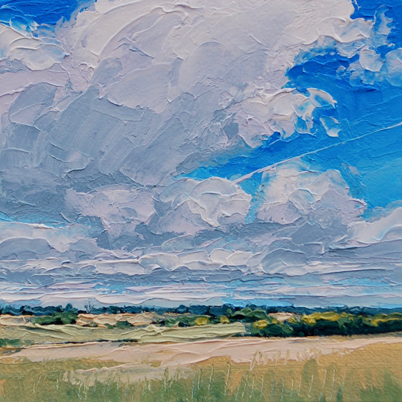 Contemporary english landscape in east anglia with sunny fields by Halima Washington-Dixon