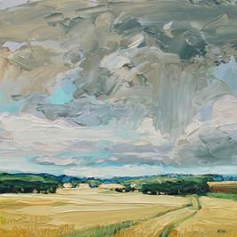 Contemporary english landscape in east anglia raincloud with wheat fields by Halima Washington-Dixon