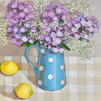 Contemporary still life phlox and purple bouquet with lemons by Halima Washington-Dixon