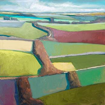 Contemporary english landscape in east anglia with Winter fields by Halima Washington-Dixon