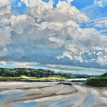 Contemporary english landscape with rain clouds woodbridge estuary Suffolk  by Halima Washington-Dixon