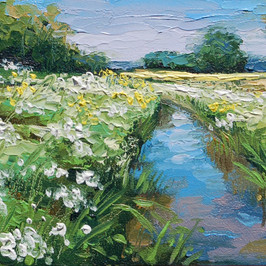 Contemporary english landscape in east anglia with sunny riverside and wildflowers by Halima Washington-Dixon
