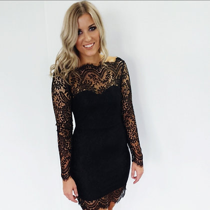 'Kelsea' Black Lace Dress
