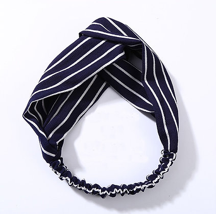 Stripe Headband - Navy / White