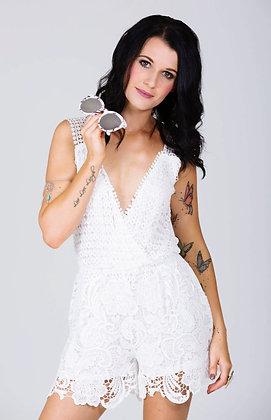 'Juliette' Lace Playsuit White
