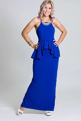 'Royale' Peplum Dress in Blue
