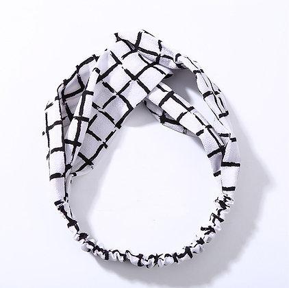 White Checkered Headband