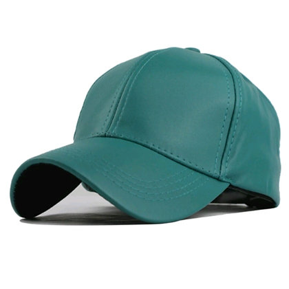 Teal Leather Cap