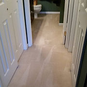 Residential carpet cleaning, bathroom and hallway, cosmetic stains