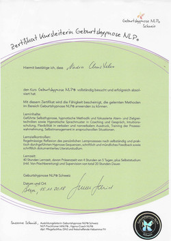 Zertifikat Geburtsvorbereitung