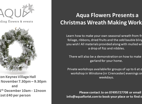Aqua Flowers Christmas Wreath Making Workshops