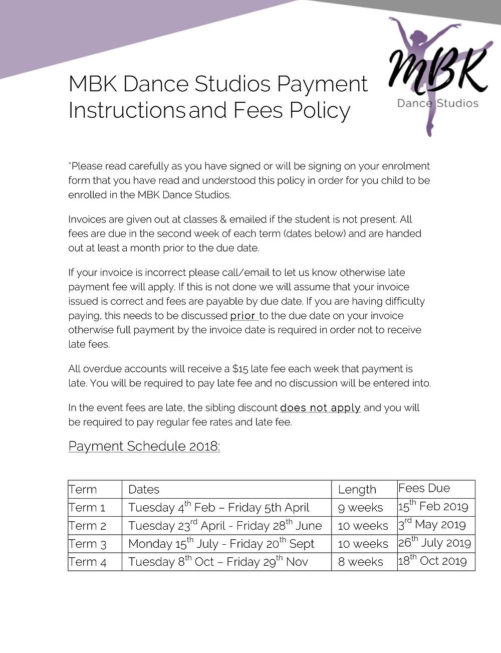Dance School Fees Policy