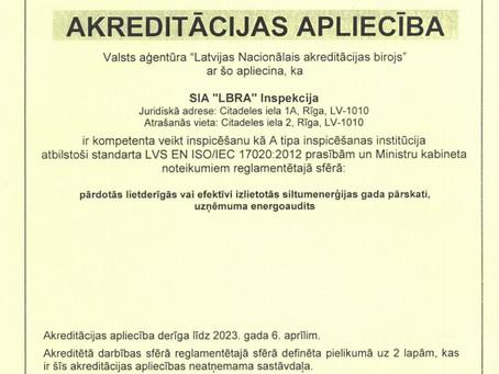 """2018. gada sākumā SIA """"LBRA"""" atkārtoti veic akreditācijas procesu!"""