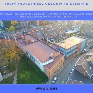 verniewen en isoleren van daken van industrieel gebouw